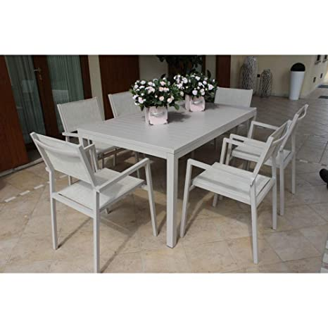 Tavolo Per Esterno Alluminio.Set Tavolo Giardino Rettangolare Fisso 150 X 90 Con 4 Sedie E 2