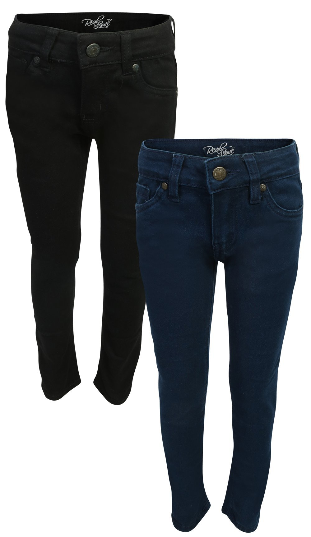 Real Love Girls Skinny Jeans, Black & Blue (2 Pack) Size 6 by Real Love (Image #1)