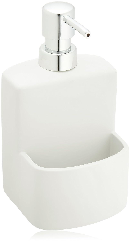 WENKO 3620115100 Dispensador de detergente para cocina True Colours Festival blanco - Soft-Touch superficie , 0.38 L, Cerámica Soft-Touch, 10 x 18 x 10 cm, ...