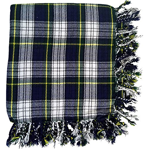 Traditional Scottish Highland Kilt Fly Plaid 48'' x 48'' in Various Tartans with Free Matching Kilt Flashes (DRESS GORDON TARTAN)
