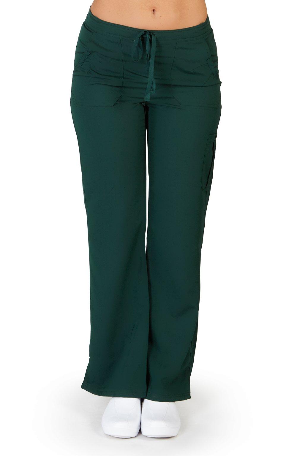 Ultra Soft Brand Scrubs - Premium Womens Junior Fit Cargo Pocket Scrub Pant, Hunter 38490-Large