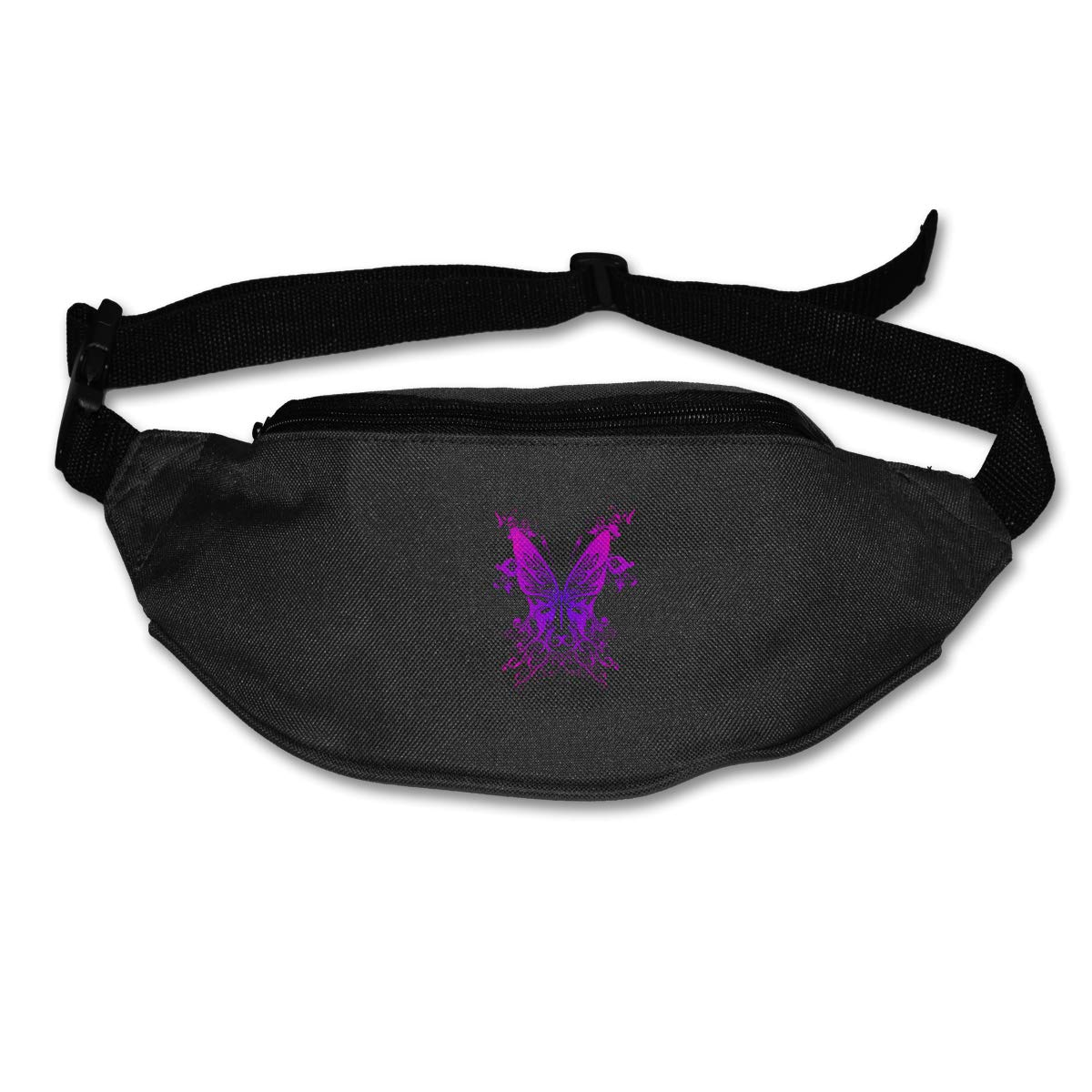 Purple Butterfly Sport Waist Pack Fanny Pack Adjustable For Travel