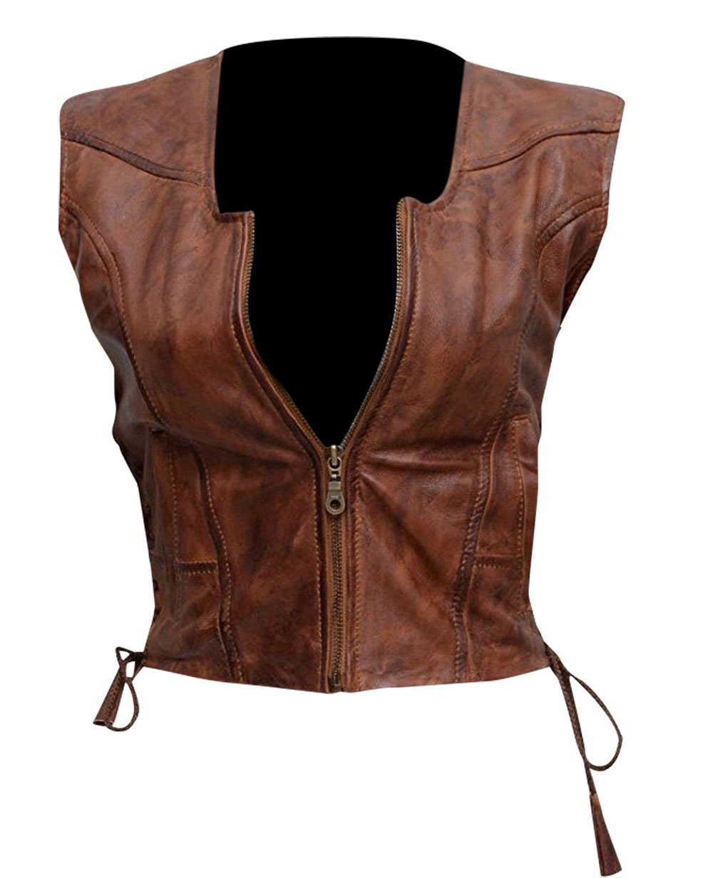 Spazeup Walking Dead Michonne Brown Faux Leather Vest by Spazeup