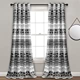 Lush Decor Hygge Geo Room Darkening Window Curtain Panel Pair, 84' x 52', Black & White