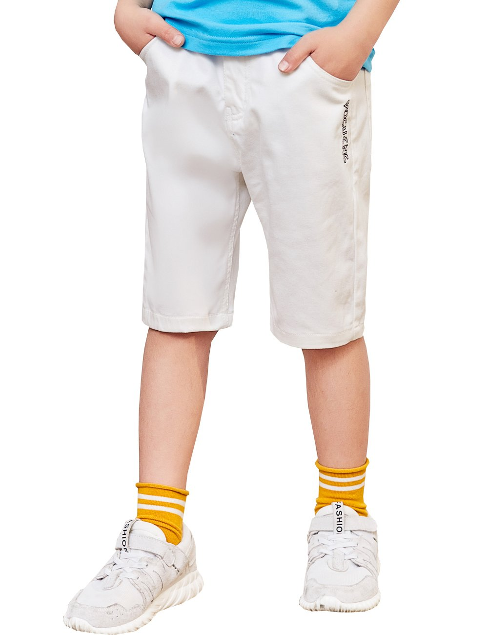 BYCR Boys' Solid Color Cotton Elastic Waist Shorts for Kids No. 9182100012 (140 (US Size 8), White)