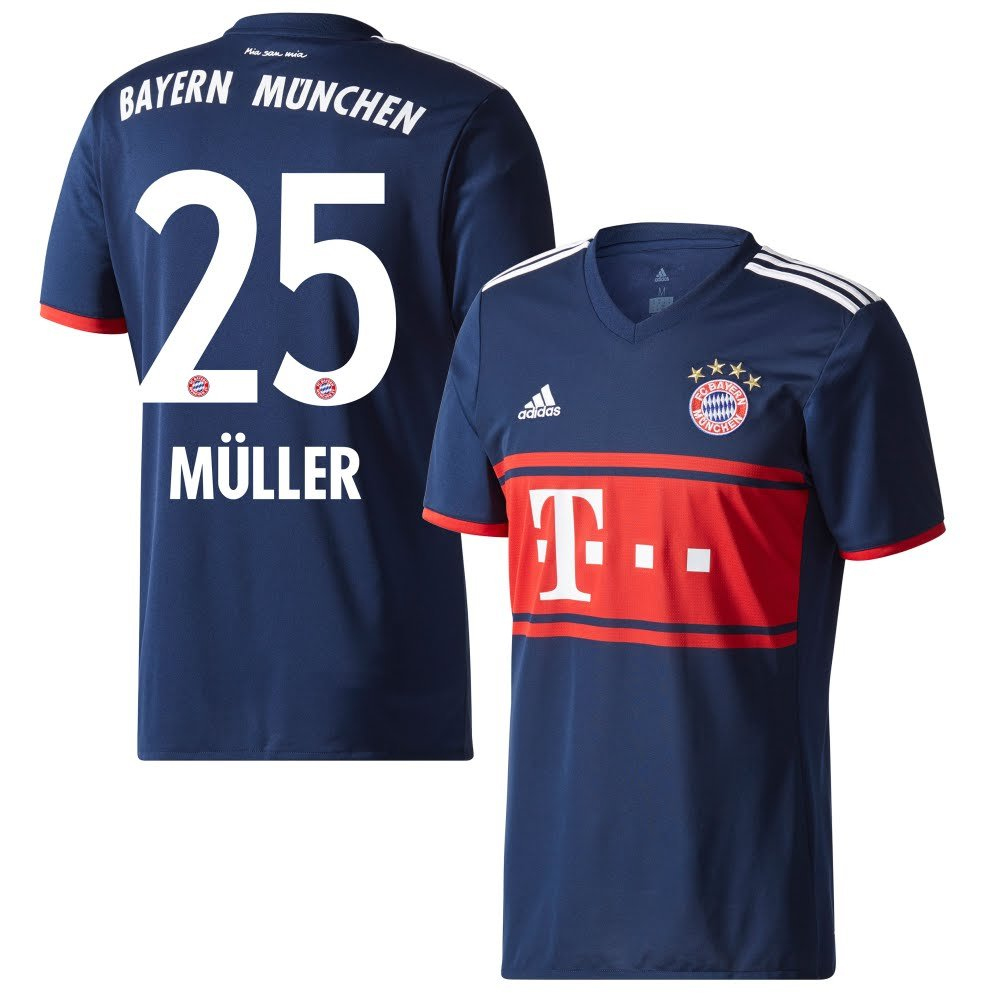 Player Print - adidas Performance Bayern München Away Trikot 2017 2018 + Müller 25