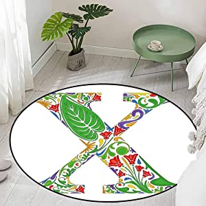 Round Non Slip Door Mat for Front Door Letter X Lively Colors with Exotic Nature Elements Refreshing Environment Ecology Diameter 66 inch Small Rugs