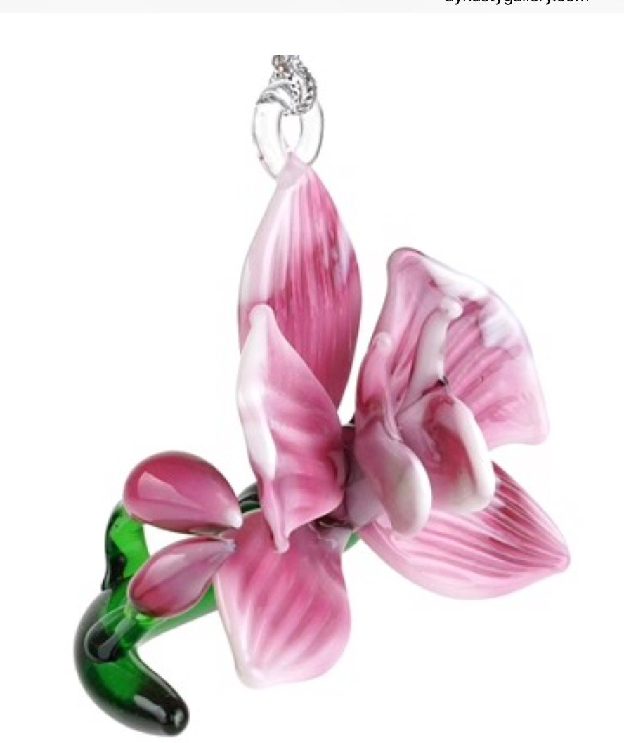 Lampwork Orchid Magenta Glass Ornament or Figurine