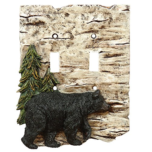 Bear and Birch Rustic Double Switch Plate - Wilderness Decor