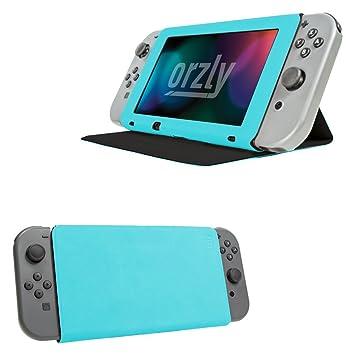Funda de Orzly con tapa y soporte para la Nintendo Switch, Carcasa AZUL Multifuncional para la Nintendo Switch con soporte integrado y tapa protectora ...