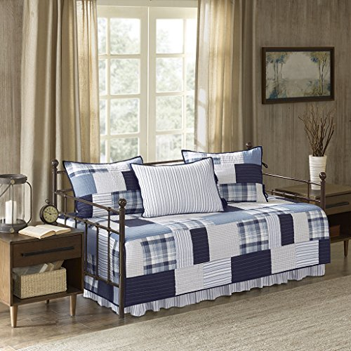 Riverview 5 Piece Cotton Percale Reversible Day Bed Cover Set Blue Daybed (Woolrich Shade)