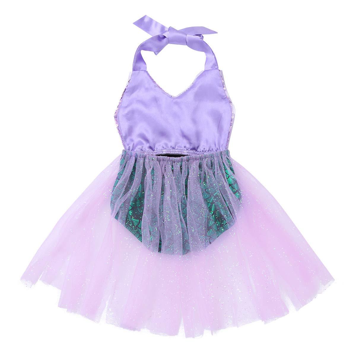 Alvivi Infant Baby Girls Shiny Sequins Little Mermaid Romper Dress Bodysuit Swimwear Cosplay Costume