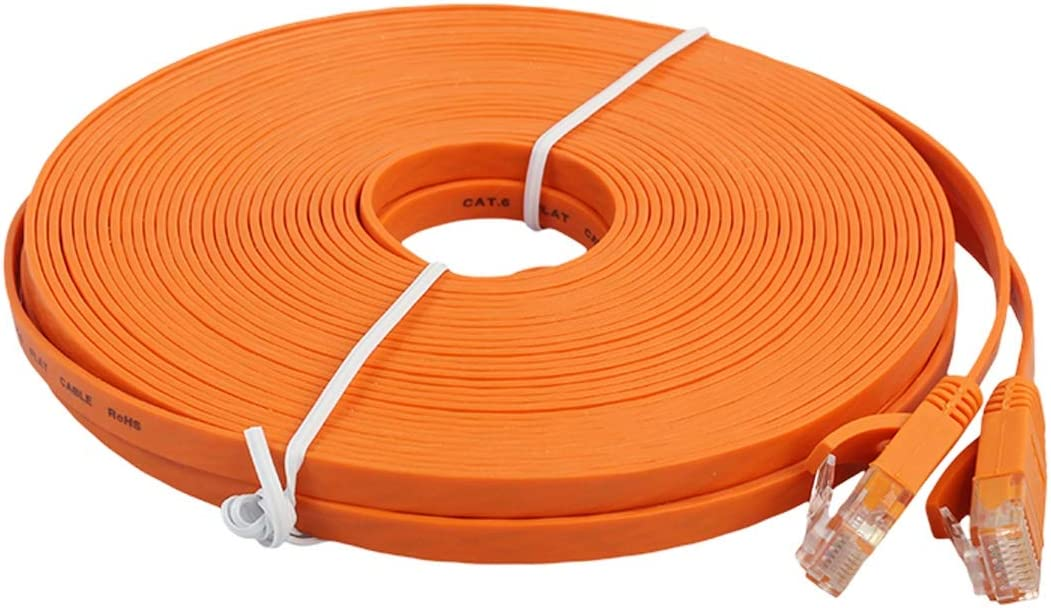 Color : Orange Networking Accessories 15m CAT6 Ultra-Thin Flat Ethernet Network LAN Cable Patch Lead RJ45 Black