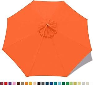 ABCCANOPY 9ft Outdoor Umbrella Replacement Top Patio Umbrella Market Umbrella Replacement Canopy with 8 Ribs(Neon Orange)