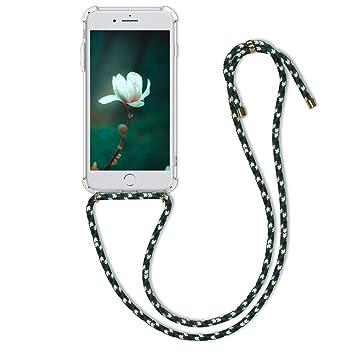 kwmobile Funda con Cuerda para Apple iPhone 7 Plus / 8 Plus - Carcasa Transparente de TPU con [Colgante] en [Transparente/Verde/Blanco]