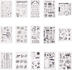 PH PandaHall 15 Sheets Silicone Clear Stamps Seal for Cards Making DIY Scrapbooking Photo Card Album Decoration(Christmas Theme,Alphabet A-Z, Number 0-9, Butterfly, Flower, Musical Note, Cat, Dog)