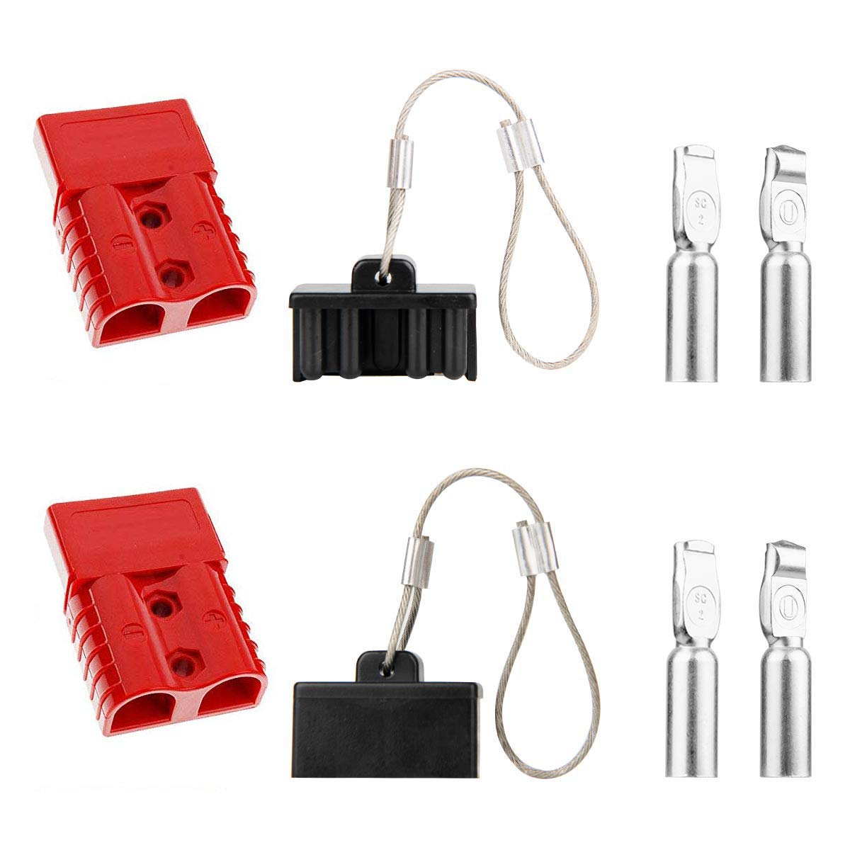 Liyafy SG50 Winch Quick Connect Plug Battery Disconnect 50A 6 AWG Trailer Plug w 4pcs Connector Terminal Pins 2Pcs