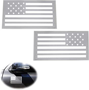 Set of 2 Black USA American Flag Decal Stickers for Jeep Dodge Ford Nissan Truck