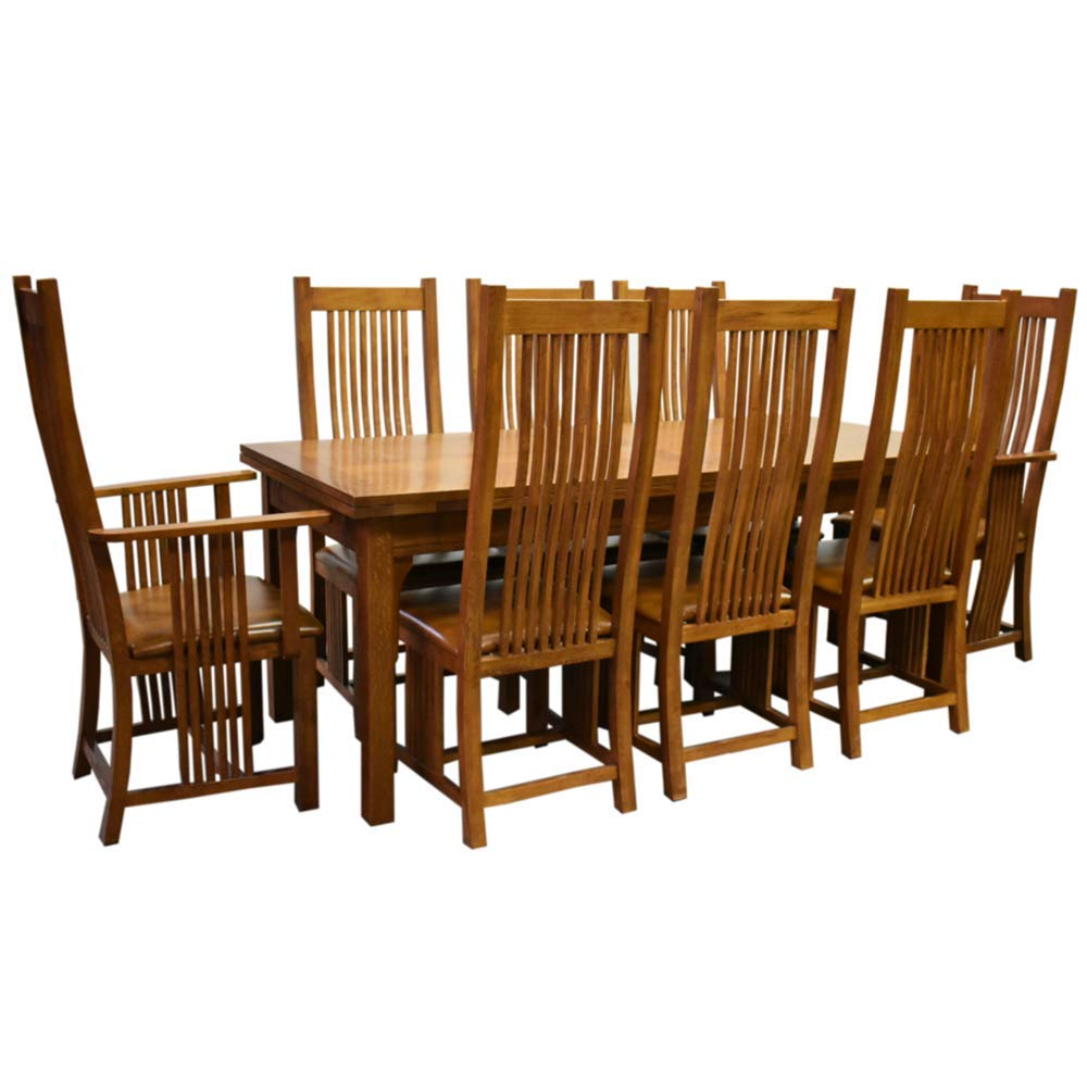 Crafters and Weavers Mission Stow Leaf Table & High Back Chair Dining Set - Light Oak