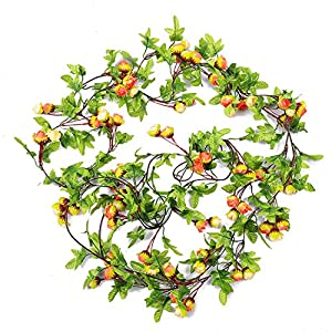 RERXN 2 Strands Artificial Rose Garland Silk Flowers Hanging Rose Vine for Wedding Home Wreath Decor (Sunset)