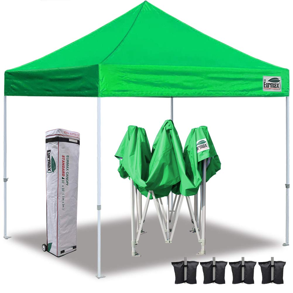 Eurmax 10'x10' Ez Pop Up Canopy Tent Commercial Instant Canopies with Roller Bag,Bonus 4 Sand Weights Bags (Kelly Green)