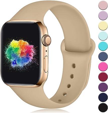 Imagen deYoumaofa Correa Compatible con Apple Watch 38mm 40mm, Correa de Silicona Repuesto Pulsera Deportivas para iWatch Series 5 Series 4 Series 3 Series 2 Series 1, 38mm/40mm S/M Nuez