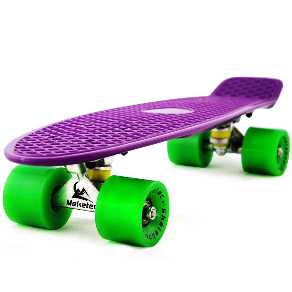 Meketec Skateboards Complete 22 Inch Mini Cruiser Retro Skateboard for Kids Boys Youths Beginners (Purple Green) by Meketec