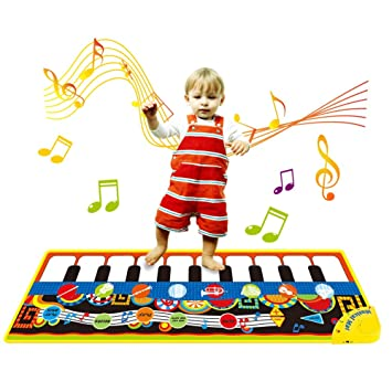 A Piano Mat Keyboard Playmat Musical Dance Mat Toy for Baby Kids Toddlers Early Education Music Piano Keyboard Play Mat Birthday Christmas Easter Day Gift for Kids Boys Girls