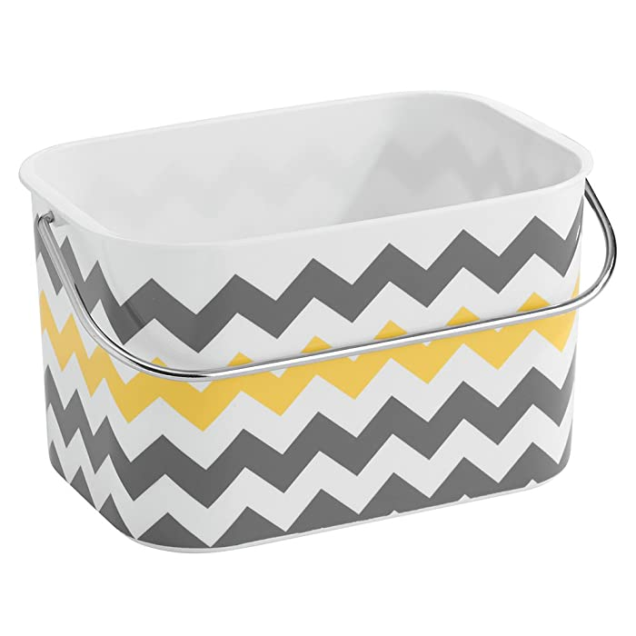 "iDesign Una Plastic Chevron Tote Basket with Handle for Storage in Bathroom, Kitchen, Bedroom, College Dorm, 9"" x 6.5"" x 5.25"" - Gray and Yellow"