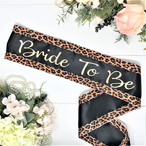 Leopard Bachelorette Sash - Black Satin - Gold Bride To Be