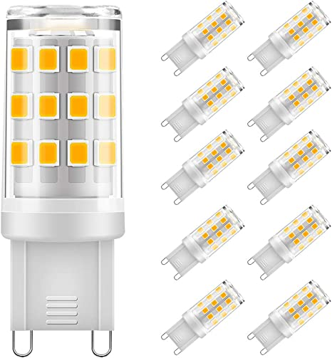 Eterbiz G9 LED Lampen 5W, 500LM Warmweiß 3000K, Kein Flackern G9 LED Leuchtmittel Ersatz 40W G9 Halogenlampe, 360° Abstrahlwinkel, nicht dimmbar, 10er