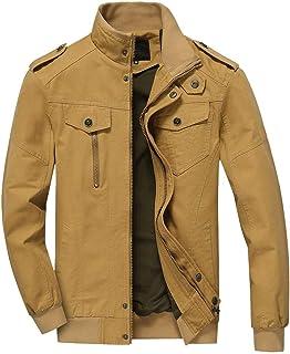 Yesmile ⭐ Chaqueta de Invierno para Hombre Color Suave clásico Simple Abrigo Dobladillo elástico Outwear Escudo Delgado de Cremallera Larga