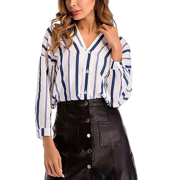 Blusones Mujer Manga Larga Elegantes Moda Clásico Especial Rayas Blusas V Cuello Anchas Asimétrica Dobladillo Primavera Casual Oficina Camisas Tops: ...