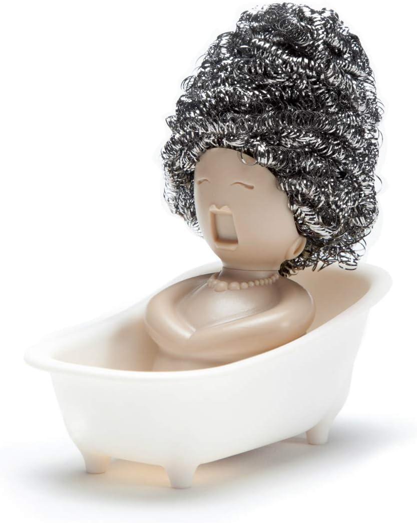 מתקן לצמר פלדה בדוגמת אישה שוכבת באמבט עם צמר פלדה בתור שיער
