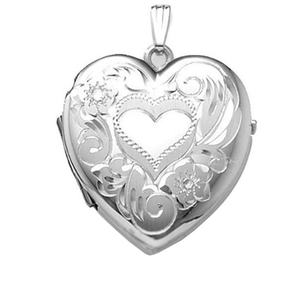 Sterling Silver Heart Four Photo Locket 1-1/4 Inch X 1-1/4 Inch Solid Sterling Silver w / engraving