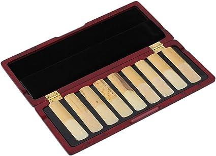 Mxfan Clarinete - Caja para 10 cañas de madera maciza con cierre magnético, color caoba: Amazon.es: Instrumentos musicales