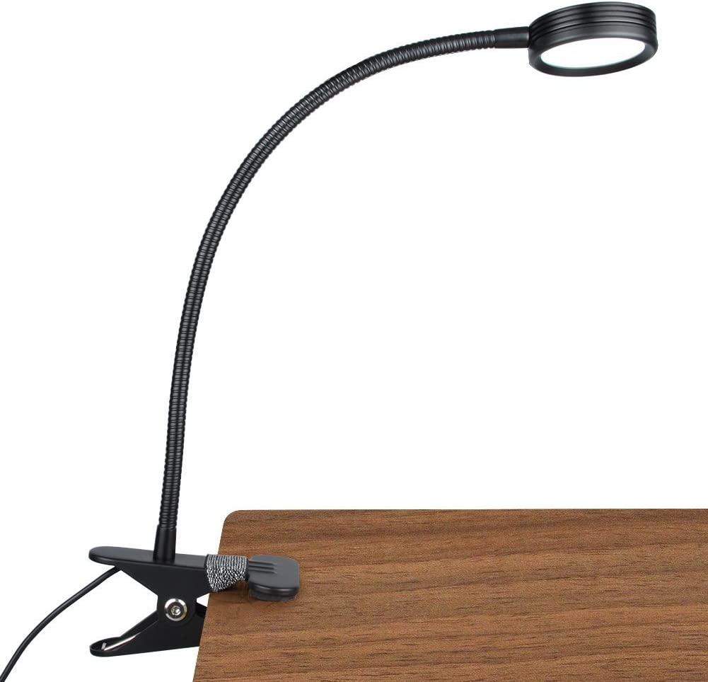 LEPOWER New Version Metal Clip On Light, Flexible Bed Light with 3 Colors x Stepless Adjustable Brightness, Eye Caring Reading Light for Desk, Bed Headboard and Computers(Black)-No AC Adapter - -