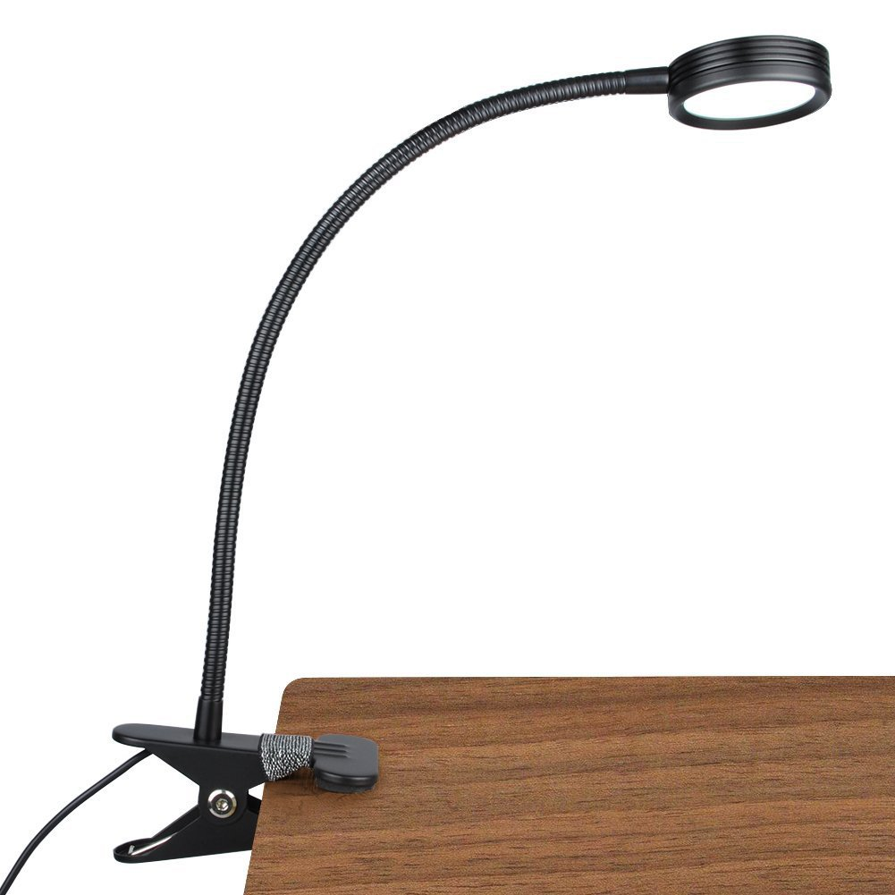 New Version LEPOWER Metal Clip On Light Reading Lights Bed Light 3 Color Temperature Settings Stepless Adjustable Brightness Clip Lamp for Desk, Bed Headboard and Computers(Black)
