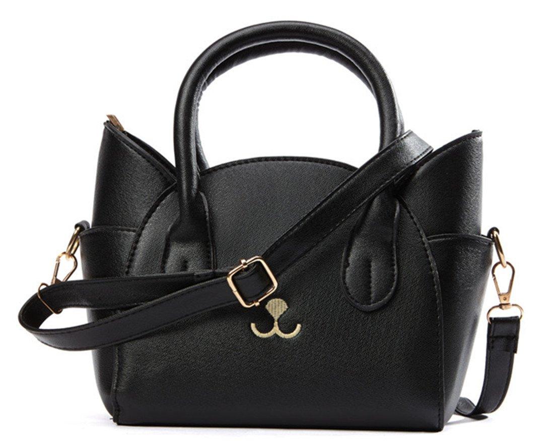 JHVYF Women's Fashion Top Handle Cute Cat Cross Body Shoulder Bags Girls Black Handbag Purse