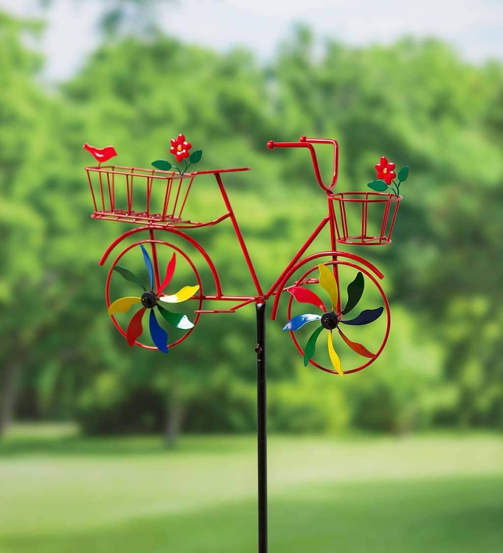 Plow & Hearth 55031RD Bicycle Spinner Decorative Garden Stake, Red