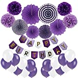 Birthday Decoration, Cocodeko Happy Birthday Banner, Tissue Paper Pom Poms, Hanging Paper Fan Set and 20 pcs Balloons for All Birthday Party Decorations - Purple, Violet and White