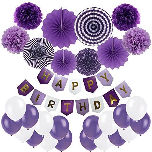 Birthday Decoration, Cocodeko Happy Birthday Banner, Tissue Paper Pom Poms, Hanging Paper Fan Set and 20 pcs Balloons for All Birthday Party Decorations - Purple, Violet and White ()