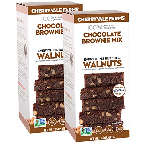Mix Chocolate Cookie Walnut (Cherryvale Farms, Chocolate Brownie Baking Mix, Everything But The Walnuts, Add Fresh Produce, Tastes Homemade, Non-GMO, Vegan, 100% Plant-Based, 13.5 oz (pack of 2))