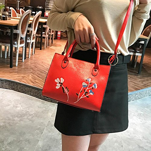 Leather Crossbody Bag Shoulder Tote Fashion Embroidered Bags Handbag Woman Red Women Casual Red Bag Handbag qzZxY