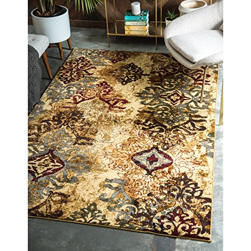 Abstract Floral Medallion Pattern Area Rug, Earthy Oriental Leafy Vines Themed, Rectangle Indoor Hallway Doorway Outdoors Dining Area Carpet, Classic Nature Artwork Design, Beige, Brown, Size 5' x 8'