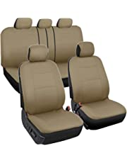 BDK PolyCloth Car Seat Covers (Solid Beige) - 11 Piece Front & Rear Seat Covers - Split Bench