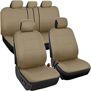 BDK OS309 Solid Beige PolyPro Car Seat Covers, Full Set – Front and Rear Split Bench Protection, Easy to Install, Universal Fit for Auto Truck Van SUV