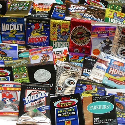 300 Unopened Hockey Cards Collection in Factory Sealed Packs of Vintage NHL Hockey Cards From the Late 80's & Early 90's. Look for Hall-of-famers Such As Wayne Gretzky, Mario Lemieux, & Jaromir Jagr.