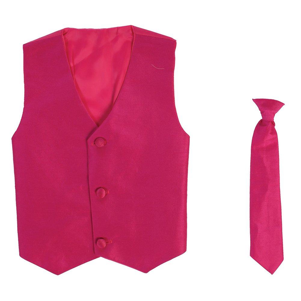Lito Little Boys Fuchsia Poly Silk Vest Necktie Special Occasion Set 2T-7