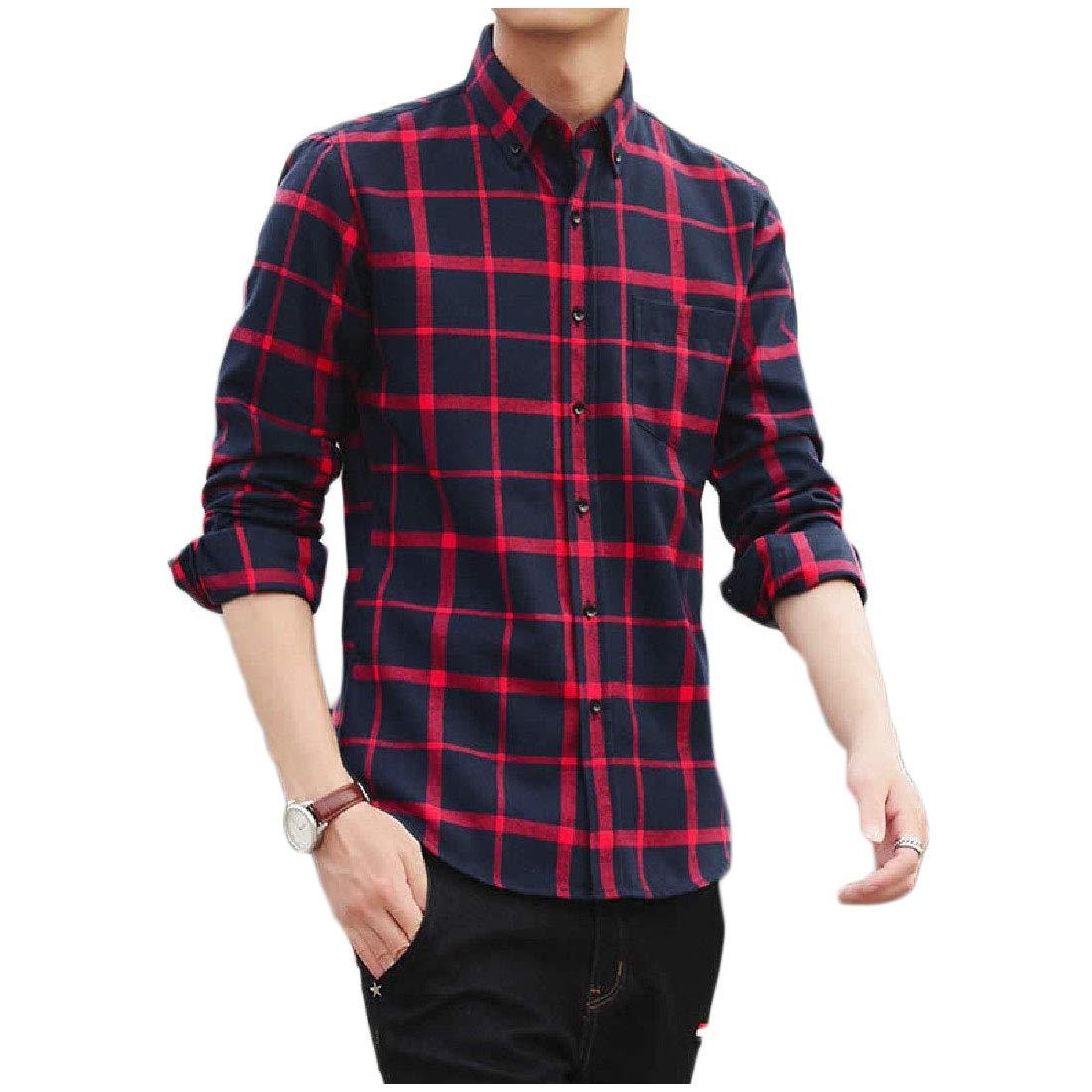 Winwinus Mens Flannel Small Plaid Leisure Button Down Long Sleeve Shirt